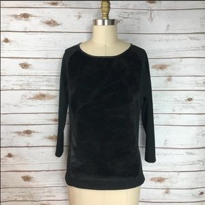 AT Black Faux Fur Front 3/4 Sleeve Side Zip Shirt